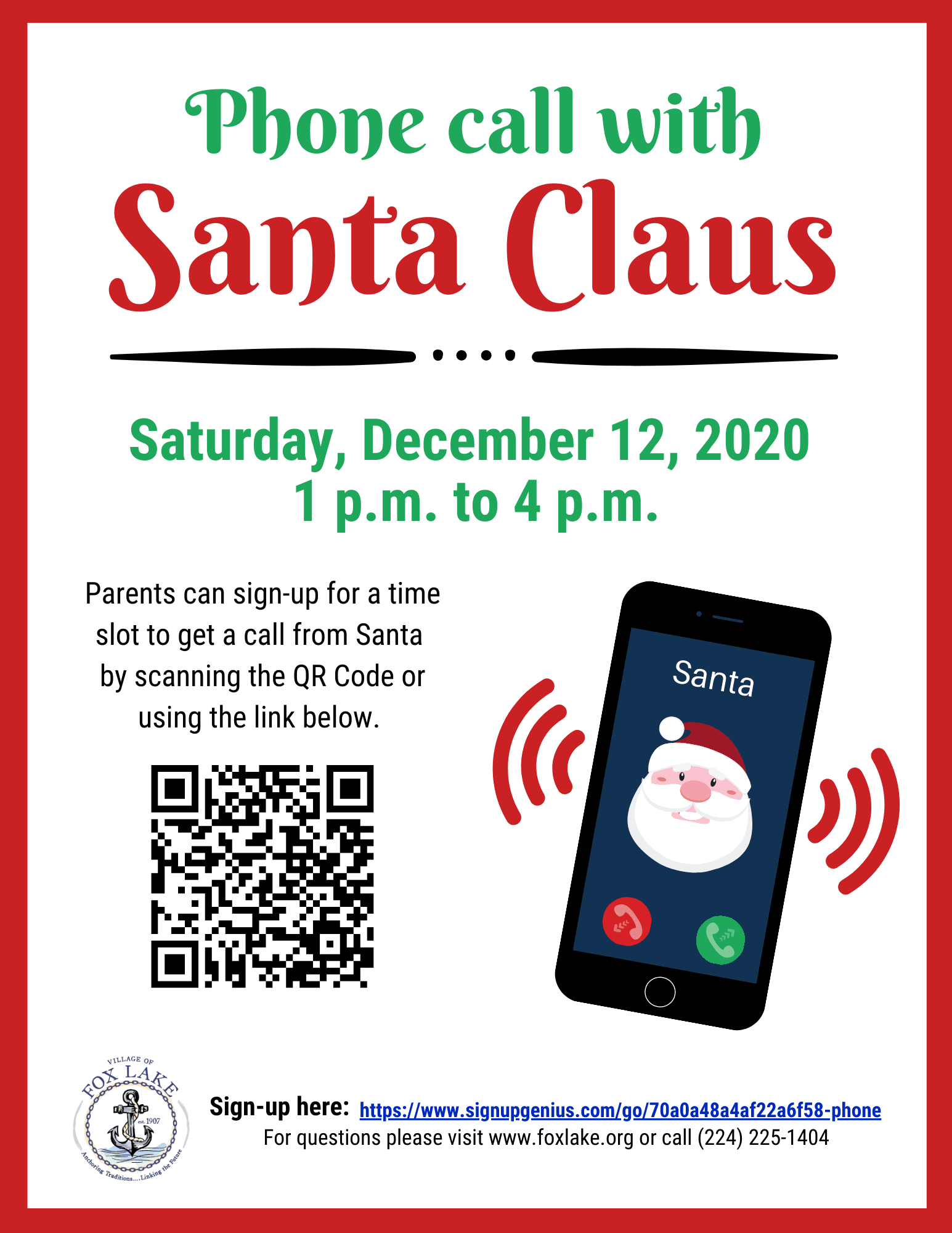 2020 Phone Call with Santa Flyer